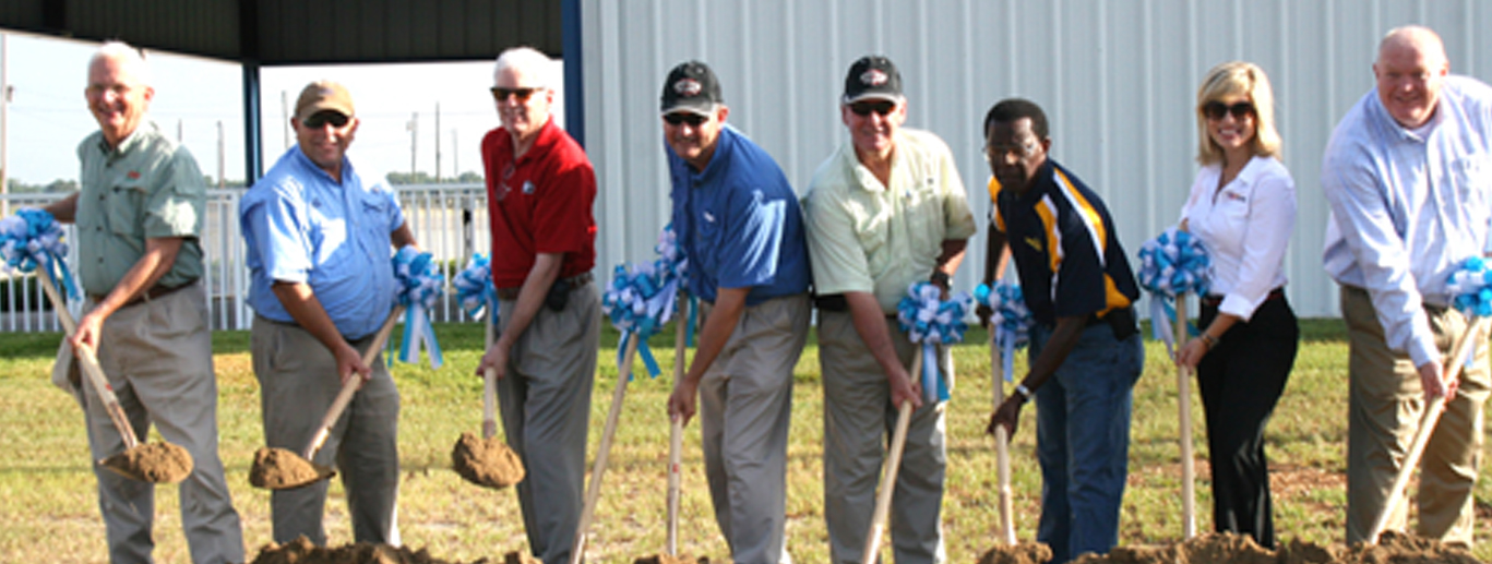 Georgia agricultural leaders took part in a groundbreaking in July at the Sunbelt Expo in Moultrie. The groundbreaking was for the new Spotlight State building, which will be constructed in time for the Expo, to be held Oct. 14-16. Participating in the groundbreaking are (from left): Georgia Agricultural Commissioner Gary Black, Georgia Farm Bureau President Zippy Duvall, University of Georgia College of Agricultural and Environmental Sciences Dean Scott Angle, Sunbelt Executive Director Chip Blalock, assistant director of the Georgia Development Authority Donald Wilder, professor of horticulture at Fort Valley State, James E. Brown, Brittany Beasley (representing Colombo North America) and ABAC President David Bridges.