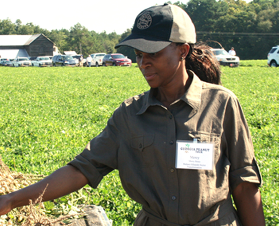 Mercy Butao, from Malawi, Africa, checks out peanuts during a stop on the Georgia Peanut Tour two years ago.