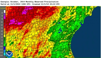 While parts of the western half of the state received more than 6 inches of rain during October, most of the eastern half of the state remained fairly dry.