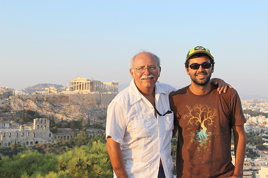 Camden Lowrance, right, is pictured with his father during Lowrence's visit to Greece.
