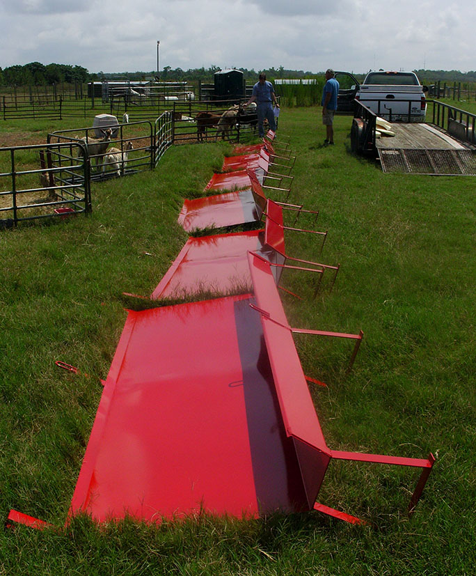 Pictured are in-line feeders delivered by AgrAbility to a farmer in Fitzgerald.