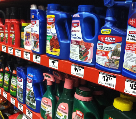 Bottles of pesticides line the shelves of a home improvement store in Griffin, Georgia.