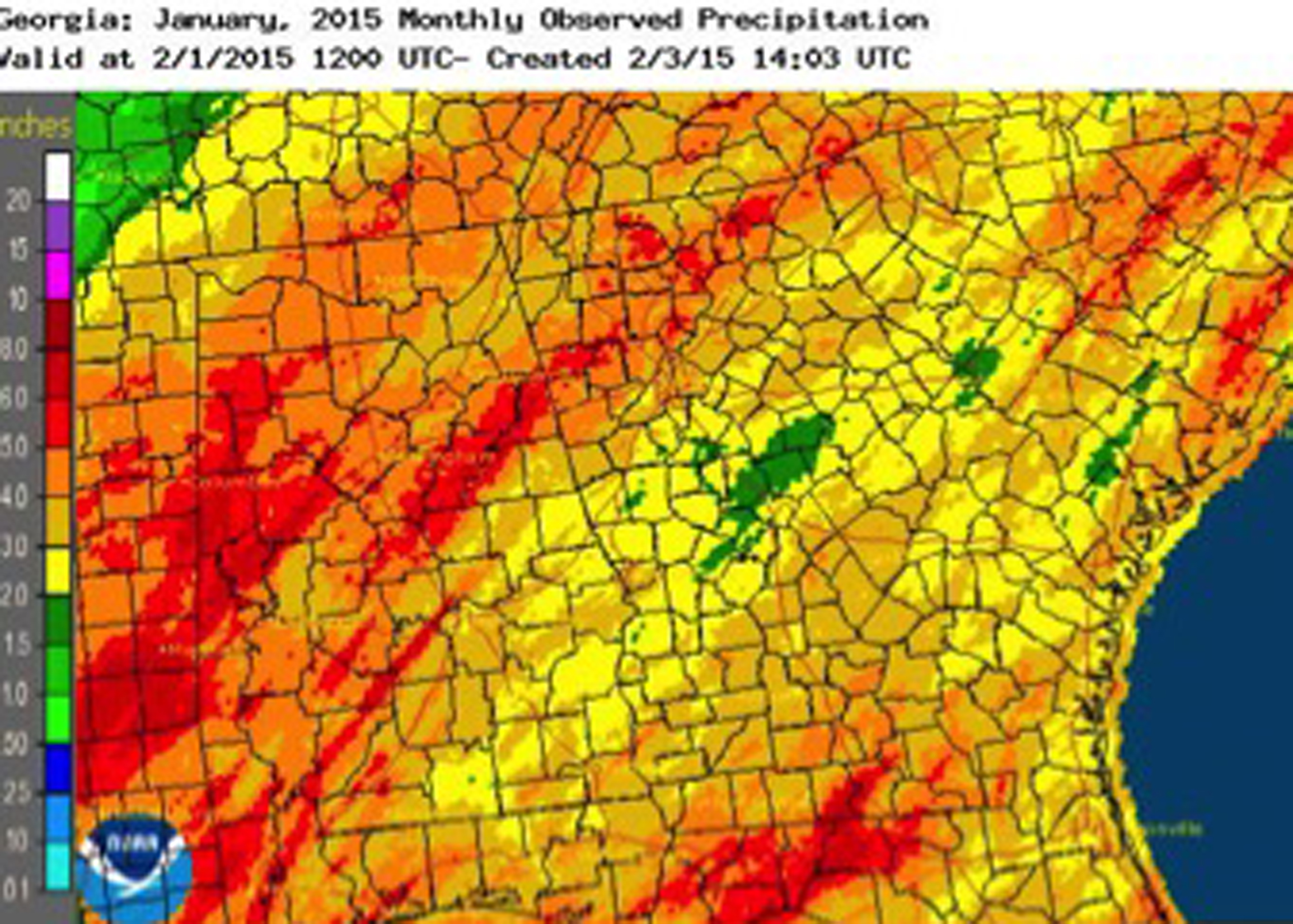 While the weather was drier than normal in January 2015, cooler temperatures kept the lack of rain from impacting soil moisture levels.