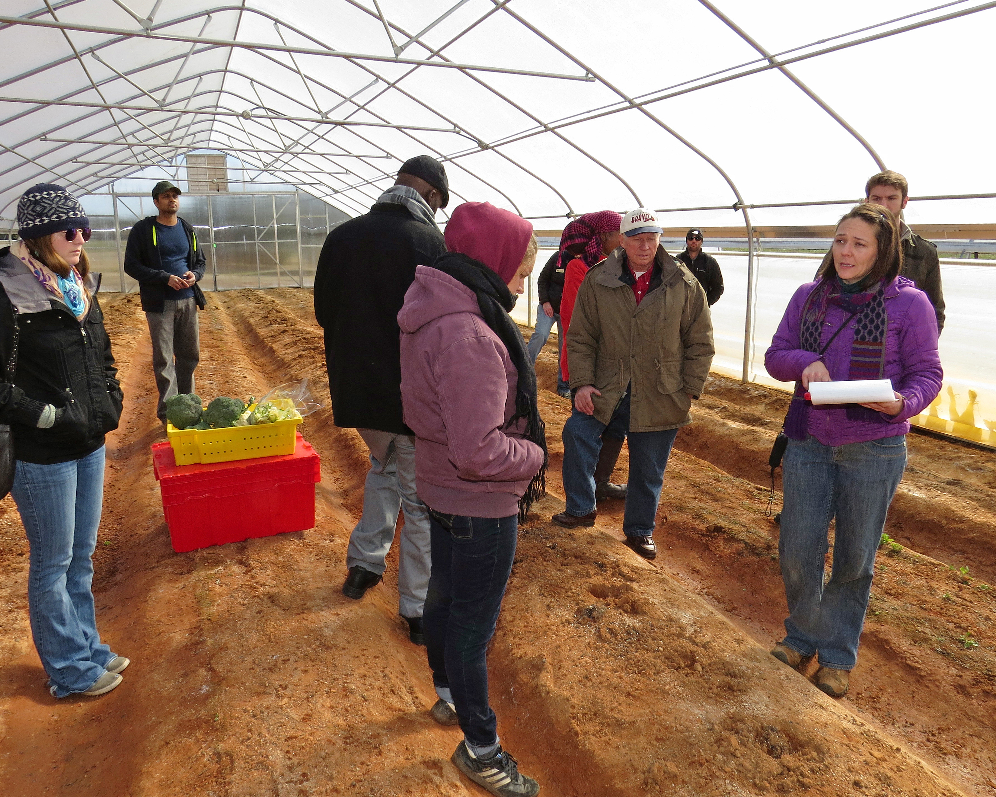 Assistant Professor of Horticulture Suzanne O'Connell leads a tour of her organic production high tunnels at the Durham Horticulture Farm as part of the 2015 Georgia Organics Conference, Feb. 20-21.