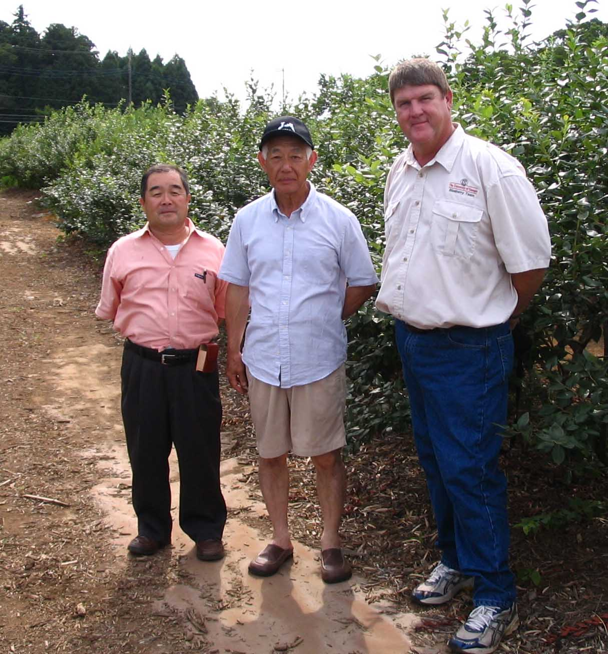 Scott NeSmith (R) examines blueberry varieties at Japanese farms.