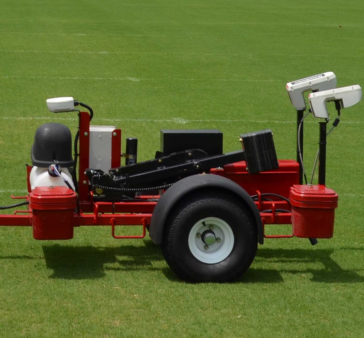 UGA graduate student Chase Straw is working with Associate Professor of Crop and Soil Sciences Gerald Henry to use the ground sensing Toro PS60000 to create more efficient maintenance regimens for turf areas on UGA's Athens Campus.
