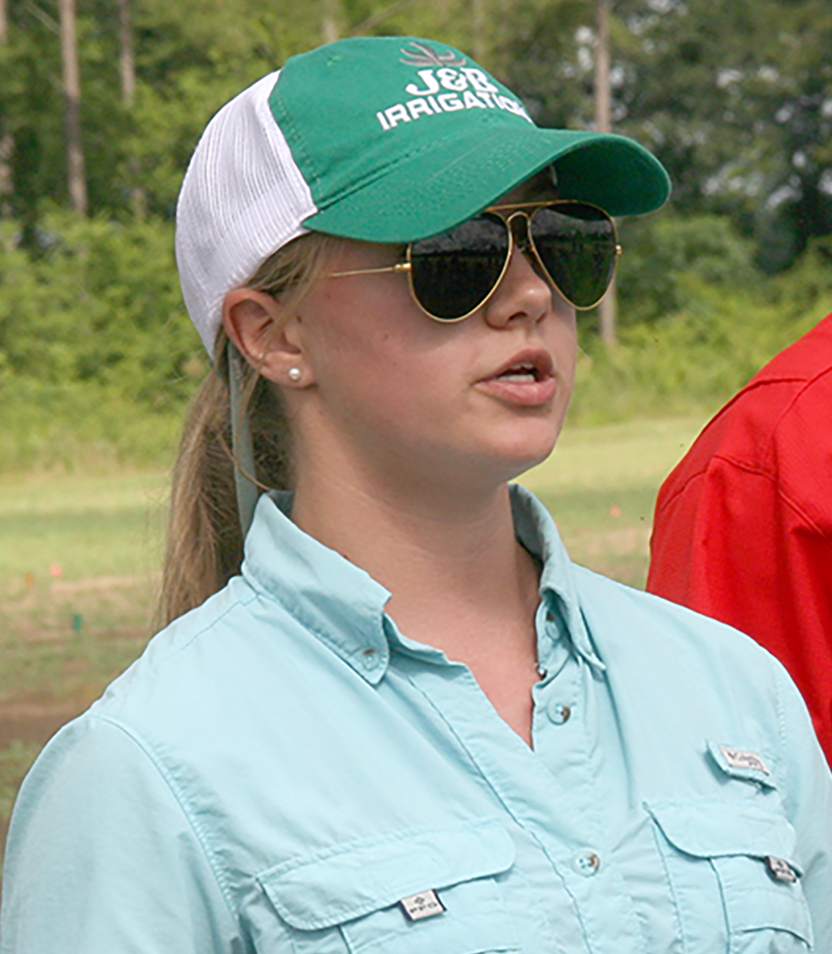 Sydni Barwick, a student at the UGA Tifton Campus, speaks about irrigation use in agriculture during a previous 4-H20 camp held at the Stripling Irrigation Research Park.