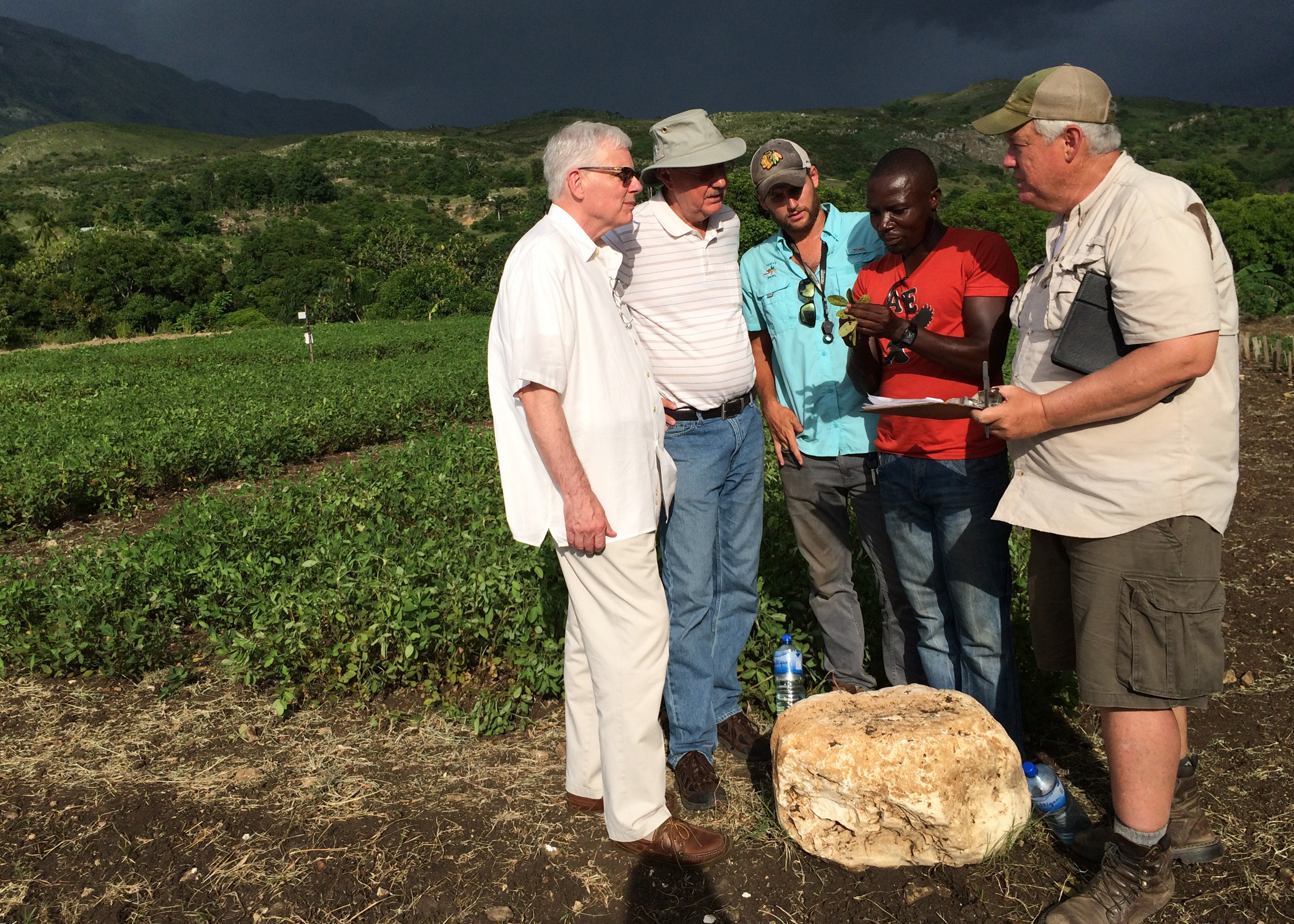 Left to Right: UGA College of Agricultural and Environmental Science Dean J. Scott Angle, PMIL Director Dave Hoisington, Food for Kids Ag Research Specialist Will Sheard, Meds and Food for Kids agronomist Jean Phillipe Dorzin and UGA peanut pathologist Bob Kemerait.