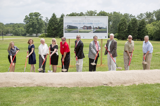 The groundbreaking ceremony for the University of Georgia's new turfgrass research and education facilities included, left to right, UGA doctoral student Becky Grubbs; Pamela Whitten, senior vice president for academic affairs and provost; Griff Doyle, vice president for government relations; Jennifer Frum, vice president for public service and outreach; Rep. Terry England (R-Auburn); Tommy Hopkins, regent of the University System of Georgia; UGA President Jere W. Morehead; Scott Angle, dean and director of the College of Agricultural and Environmental Sciences; Ken Morrow, president of Sod Atlanta Inc.; and Sen. John Wilkinson (R-Dist.50).