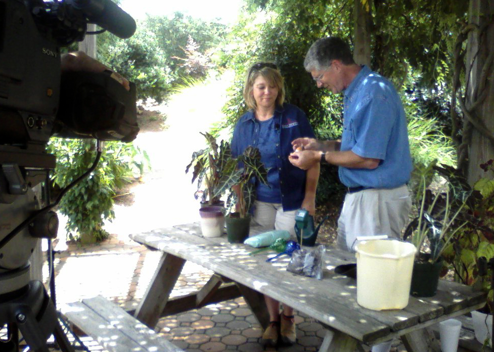 """Georgia Master Gardener program assistant Krissy Slagle is shown discussing houseplant care with """"Your Southern Garden"""" host Walter Reeves."""