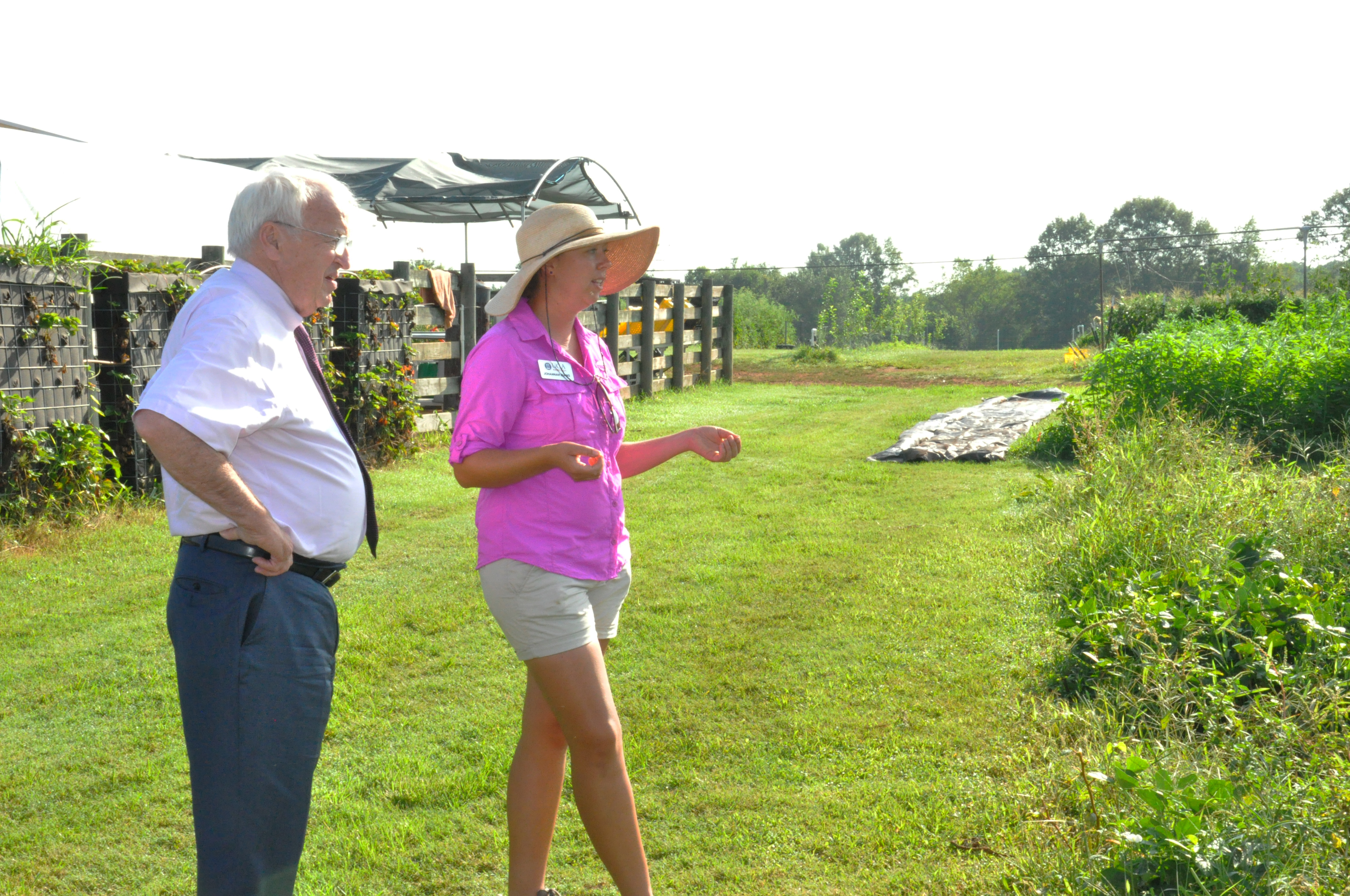 UGArden Manager JoHannah Biang gives a tour to USDA undersecretary Kevin Concannon during his tour of Athens on July 22, 2015.