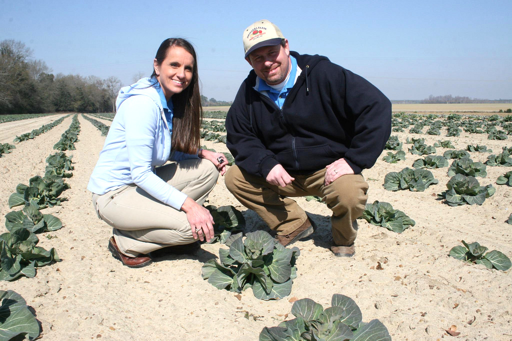 Teila and Walter Driggers gather collard greens on their farm in Collins, Georgia. As a farm wife, Teila helps her husband grow and sell their crops. An up-coming workshop for farm women is designed for for women just like Teila.