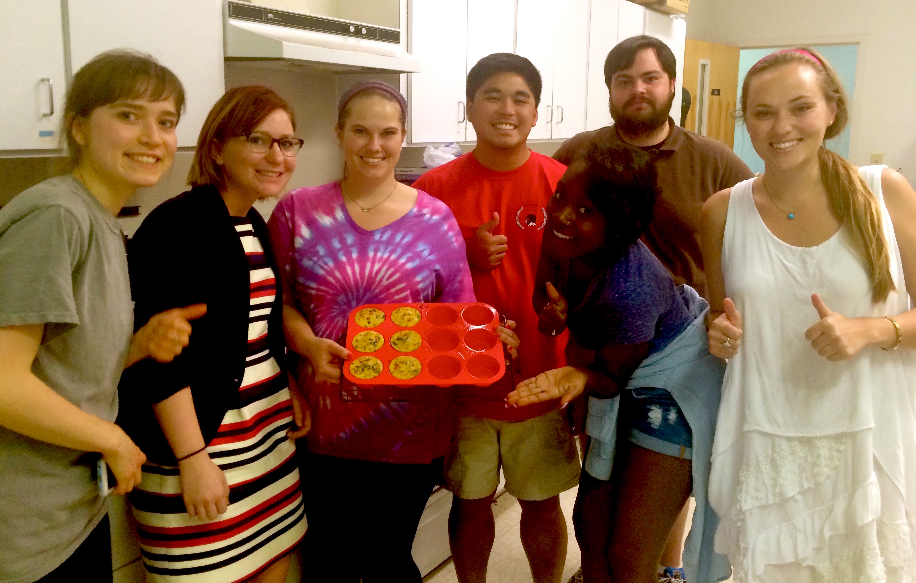 University of Georgia food science students have created a bread-free, microwavable breakfast sandwich that, if marketed, would fill a need for consumers on low-carbohydrate or gluten-free diets. The team consisted of Juliana Fritts, Adam Gresham, Brooke Oot, Shemaine Mensah, Meredith Meyer, Sara Muntean and Faustine Sonon.