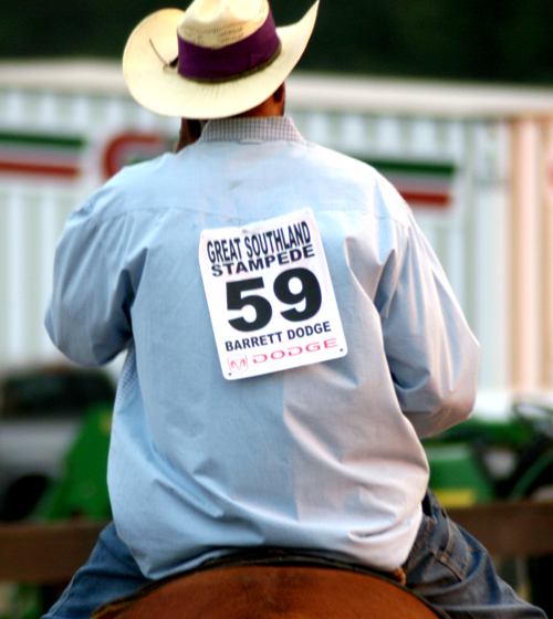A competitor warms up before his event at the Great Southland Stampede Rodeo in 2008.