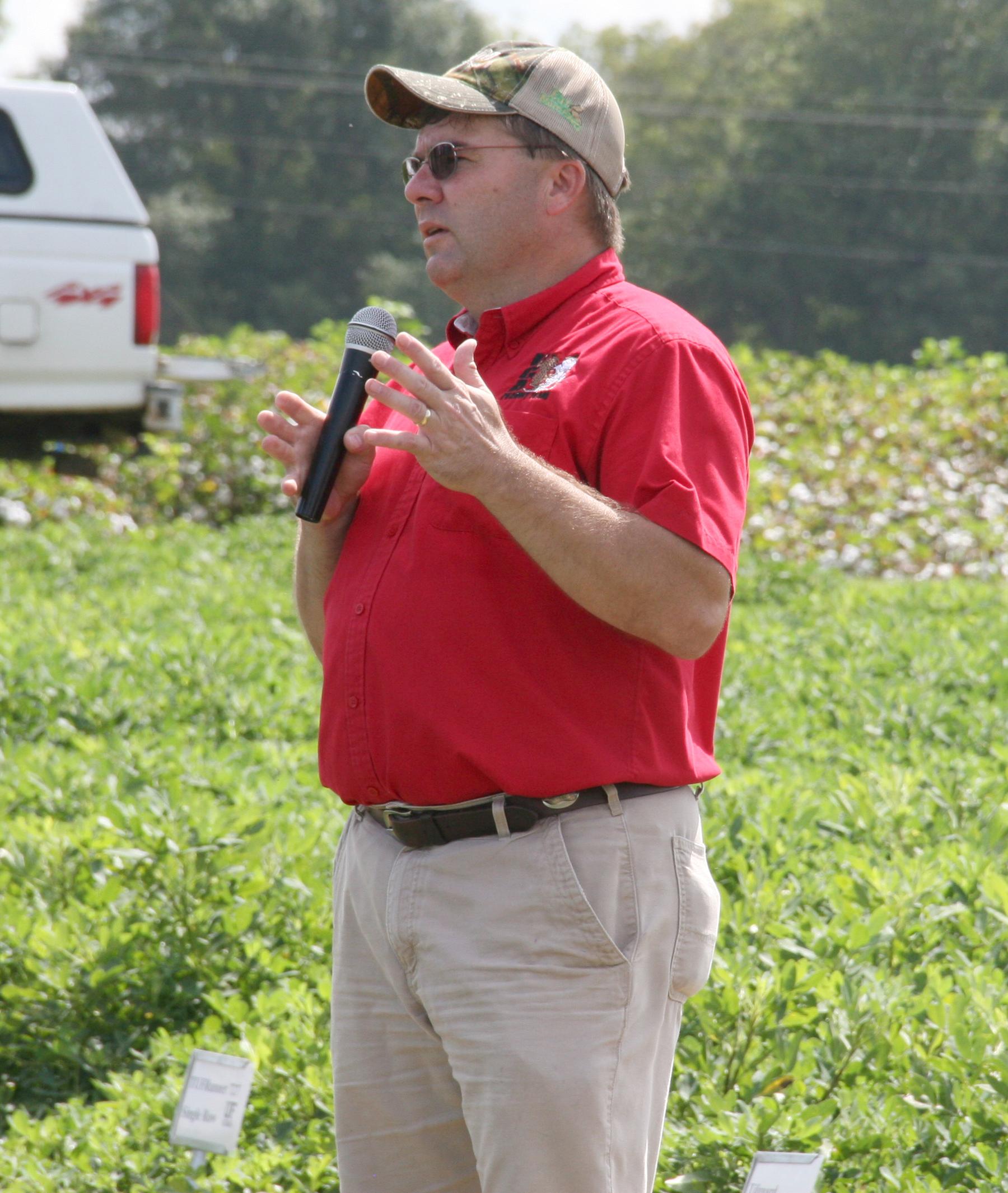 University of Georgia Extension peanut agronomist Scott Monfort speaks during UGA's annual Cotton and Peanut Field Day, held Wednesday, Sept. 9.