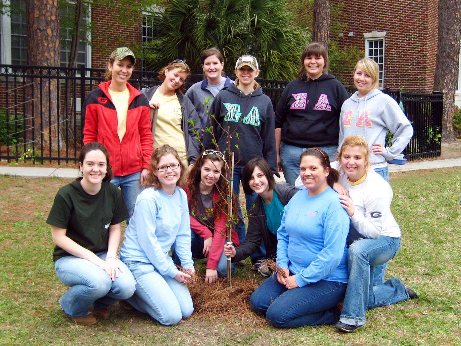 Members of professional agricultural sorority Sigma Alpha helped clear, plan and plant a garden at Charles Ellis Elementary School in Savannah, Ga., in March 2010.