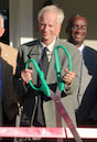 Local and state leaders and staff from the Tifton-Tift County Chamber of Commerce join University of Georgia researcher Craig Kvien as he officially cuts the ribbon of the Future Farmstead site. The net zero home/research facility is located on the UGA College of Agricultural and Environmental Sciences' campus in Tifton.