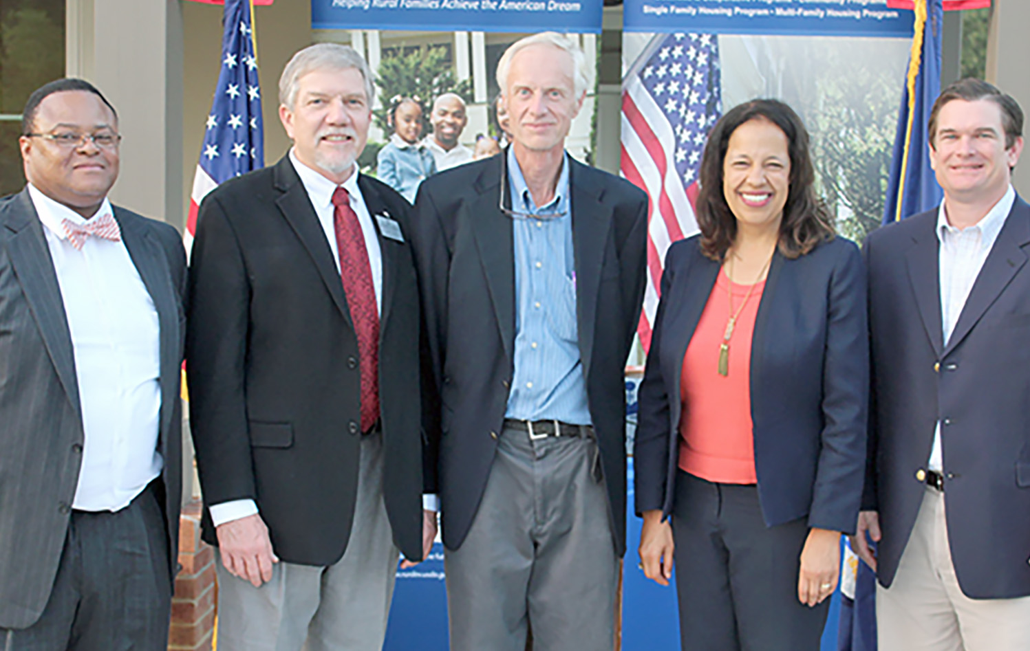 Pictured, from left, are Quentin Robinson, Georgia Director for USDA Rural Development; Joe West, assistant dean of UGA Tifton Campus; Craig Kvien; Lisa Mensah, USDA Rural Development Undersecretary; and Representative Austin Scott.