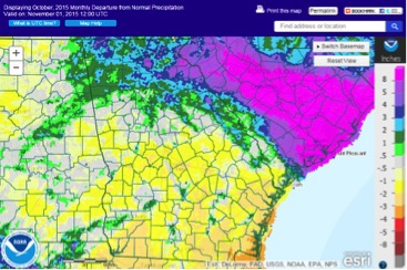 While some parts of Georgia saw 3 to 4 inches less rain than normal during October, the northeastern part of the state recorded rainfall totals more than 8 inches above normal.