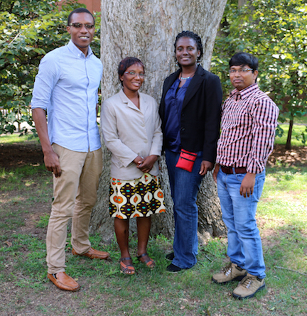 Walter Ondicho Moturi, Emmanuellah Lekete, Marina Aferiba Tandoh and Yamin Kabir are studying in the UGA College of Agricultural and Environmental Sciences and College of Family and Consumer Sciences as part of the Borlaug Higher Education for Agricultural Research and Development fellowship program.