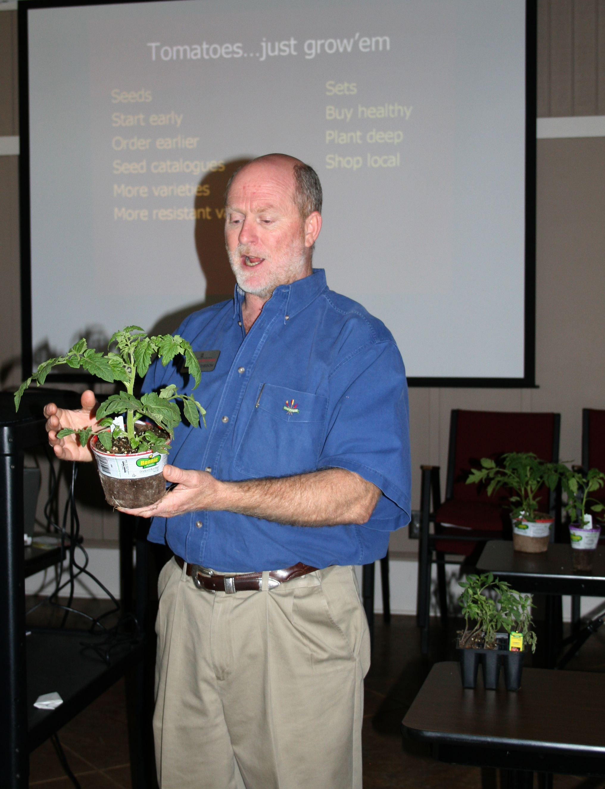 UGA Cooperative Extension agent Wade Hutcheson speaks from personal experience when he teaches classes on how to grow tomatoes in a home garden.  Hutcheson's personal favorite tomato variety is Rutgers.