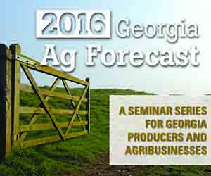 The 2016 Ag Forecast sessions will be held on Thursday, Jan. 21, at the Carroll County Ag Center in Carrollton; Friday, Jan. 22, at Unicoi State Park in Cleveland; Monday, Jan. 25, at the Cloud Livestock Facility in Bainbridge; Tuesday, Jan. 26, at the UGA Tifton Campus Conference Center in Tifton; Wednesday, Jan. 27, at the Blueberry Warehouse in Alma; and Friday, Jan. 29, at the Georgia Farm Bureau Building in Macon.