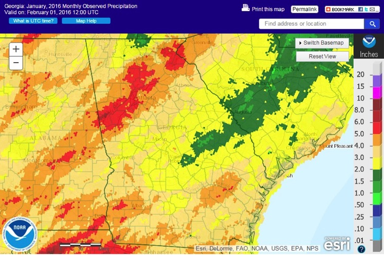 Although January was drier than normal across the state, some areas of Georgia, specifically Atlanta and Alma, received more rain than normal.