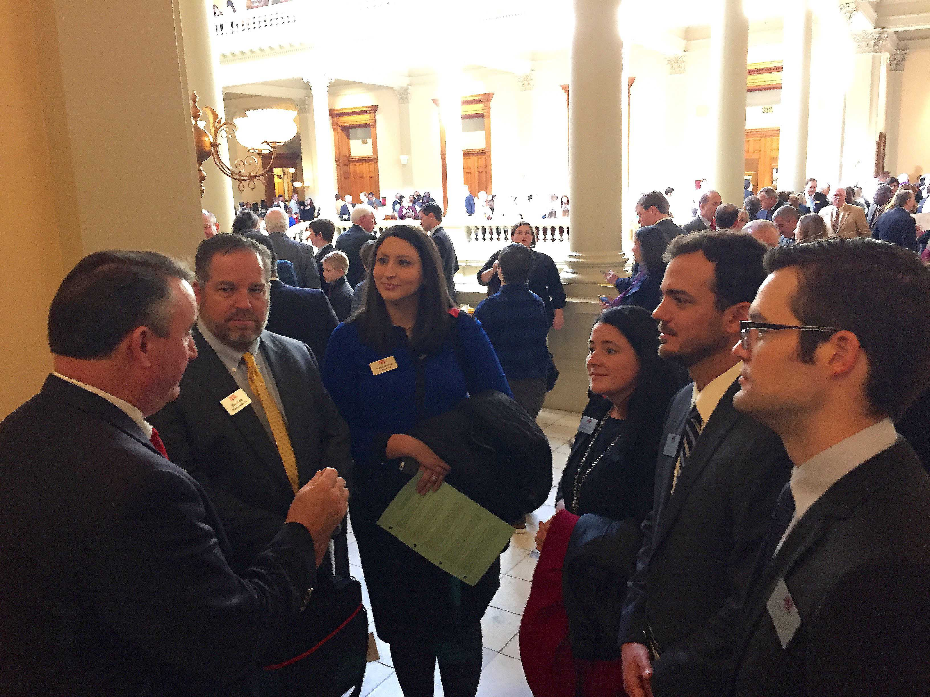 UGA AGL participants Stan Deal, Ashley Buford, Lanie Riner, Shane Boyer and Jeff Jordan visit with Georgia State Sen. Frank Gin, of Danielsville, Georgia.(Photo by Lauren Griffeth)
