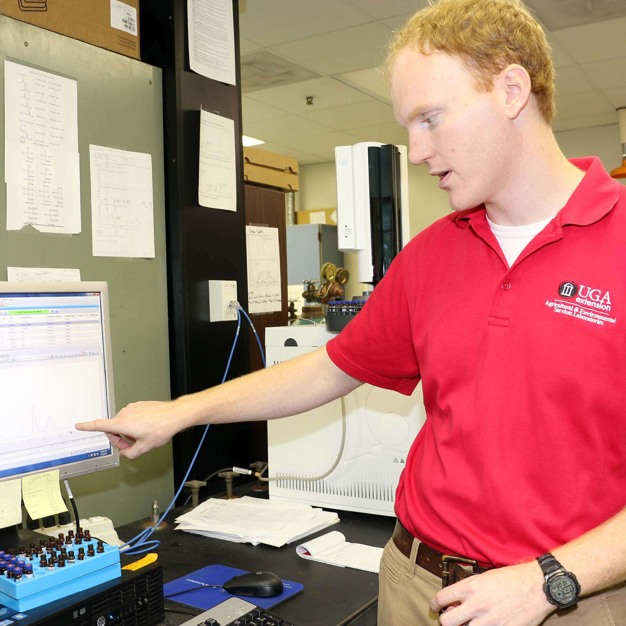 Crop and Environmental Quality Lab Manager Daniel Jackson analyzes wine grape test results at the UGA Cooperative Extension Agricultural and Environmental Services Laboratories.