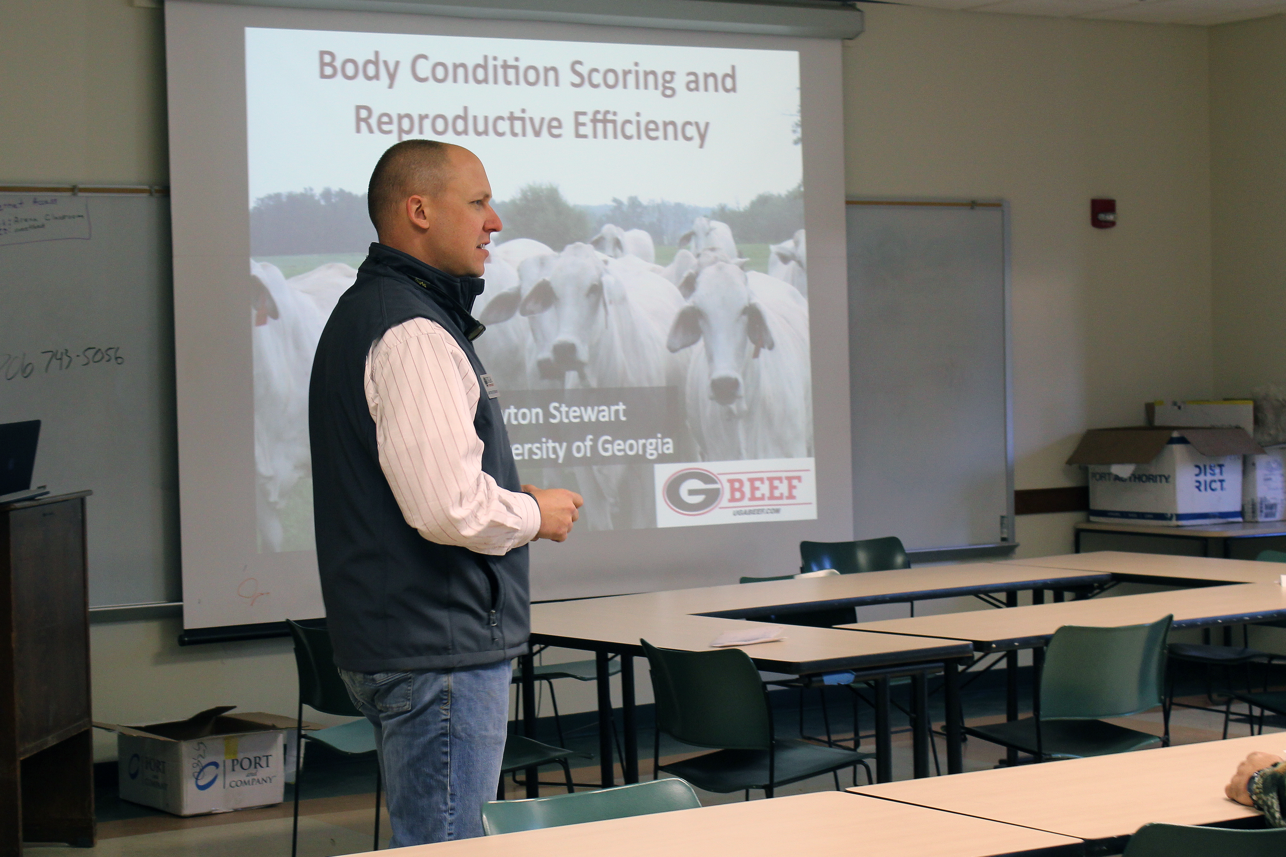 UGA Cooperative Extension beef cattle specialist Lawton Stewart teaches participants about beef body condition scoring at the Northeast Georgia Beef Cattle Short Course.
