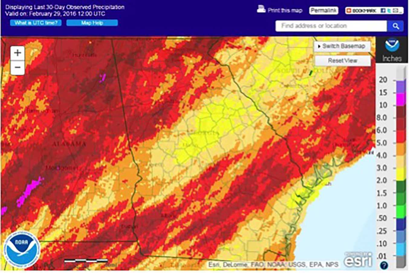 Over the course of February, swaths of northwest and southeast Georgia received as much as three or four inches more rainfall than normal, leaving some farm fields that have reached the planting milestone of 55 degrees Fahrenheit too wet to plant.