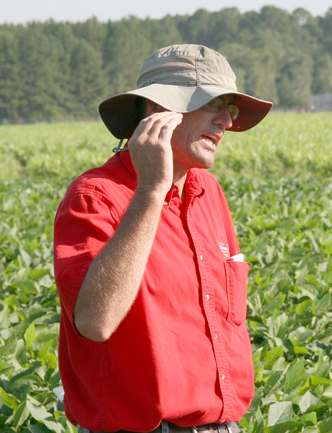 Colquitt County Extension ANR agent and county coordinator Jeremy Kichler speaks during Sunbelt Field Day in July, 2015.