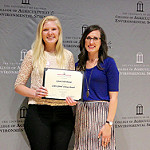 Lynae Bresser, pursuing a bachelor's degree in environmental economics and management, receives the CAES 2016 Global Citizen Award from Amanda Stephens, CAES study abroad coordinator. The award recognizes an undergraduate student in the College of Agricultural and Environmental Sciences who has embraced global citizenship through participation, promotion and leadership of international initiatives during his/her collegiate career.