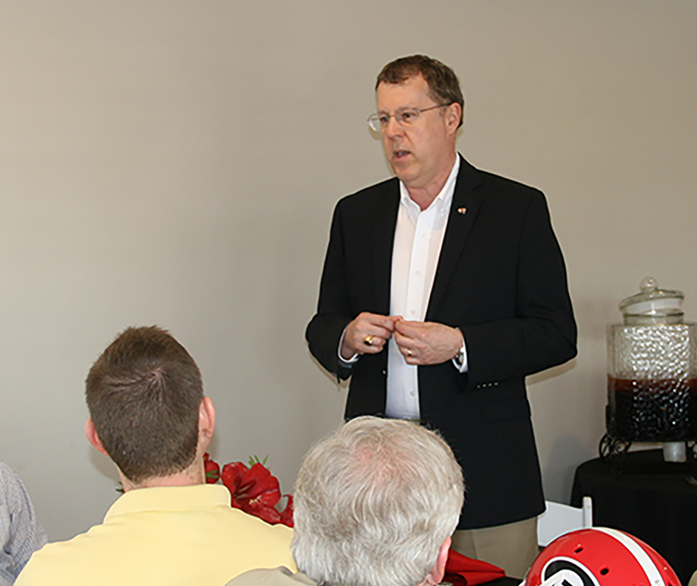 Dean Pardue speaks to industry leaders at Premium Peanut on Wednesday, April 20, 2016.