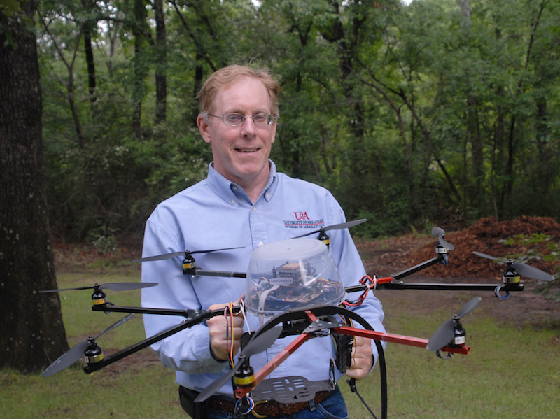 "Jim Robbins, University of Arkansas, will present on using unmanned aerial vehicles, also known as UAVs or drones, in ""Drones in Production – Inventory Management and Stress Detection"" at UGA Extension's Academy of Plant Production, June 12-15 in Athens, Ga."
