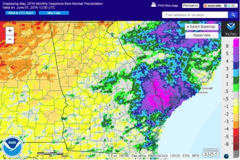 While some parts of the state saw 10 inches more rain than normal during May, northwestern Georgia had more than three inches less rain than the average.