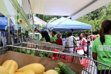UGA Extension in DeKalb County and the DeKalb County Board of the Health use a revamped prisoner transport bus to provide fresh produce to its underserved communities.