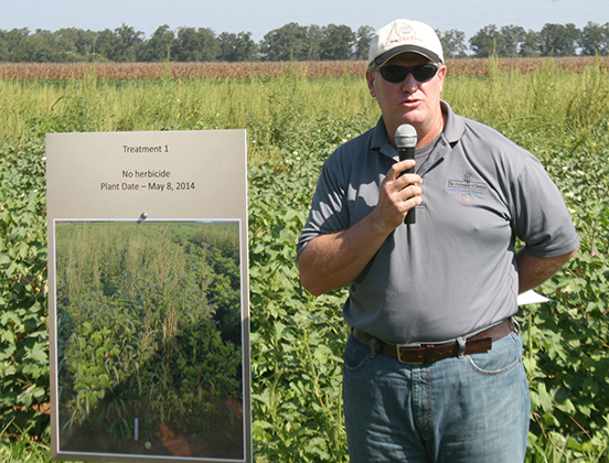 Tim Grey, UGA weed scientist, speaks during the Plains field day held in 2014.