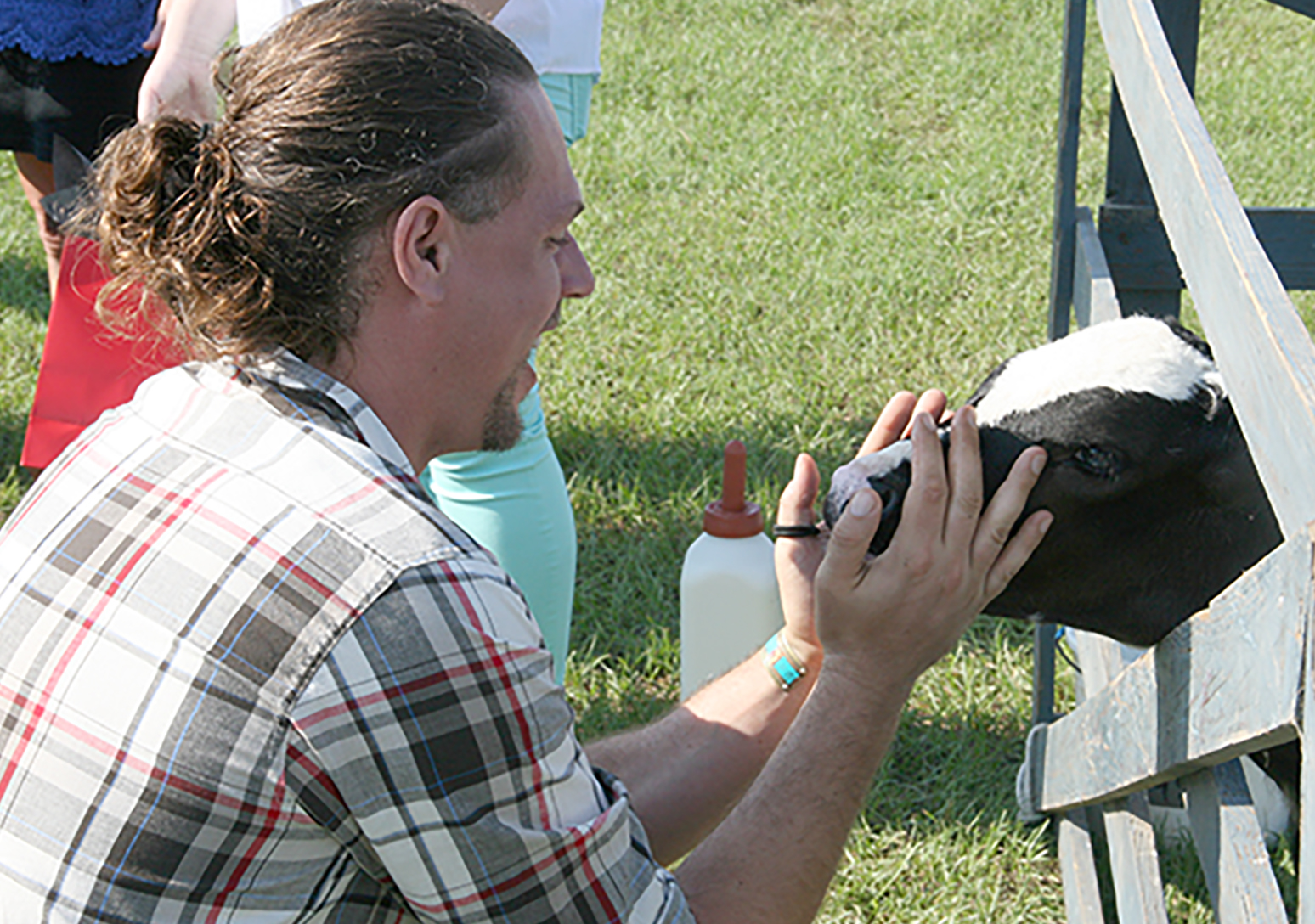 Alexander Bucksch talks with a cow during the New Faculty Tour on Thursday, August 4, at the UGA Tifton Campus.