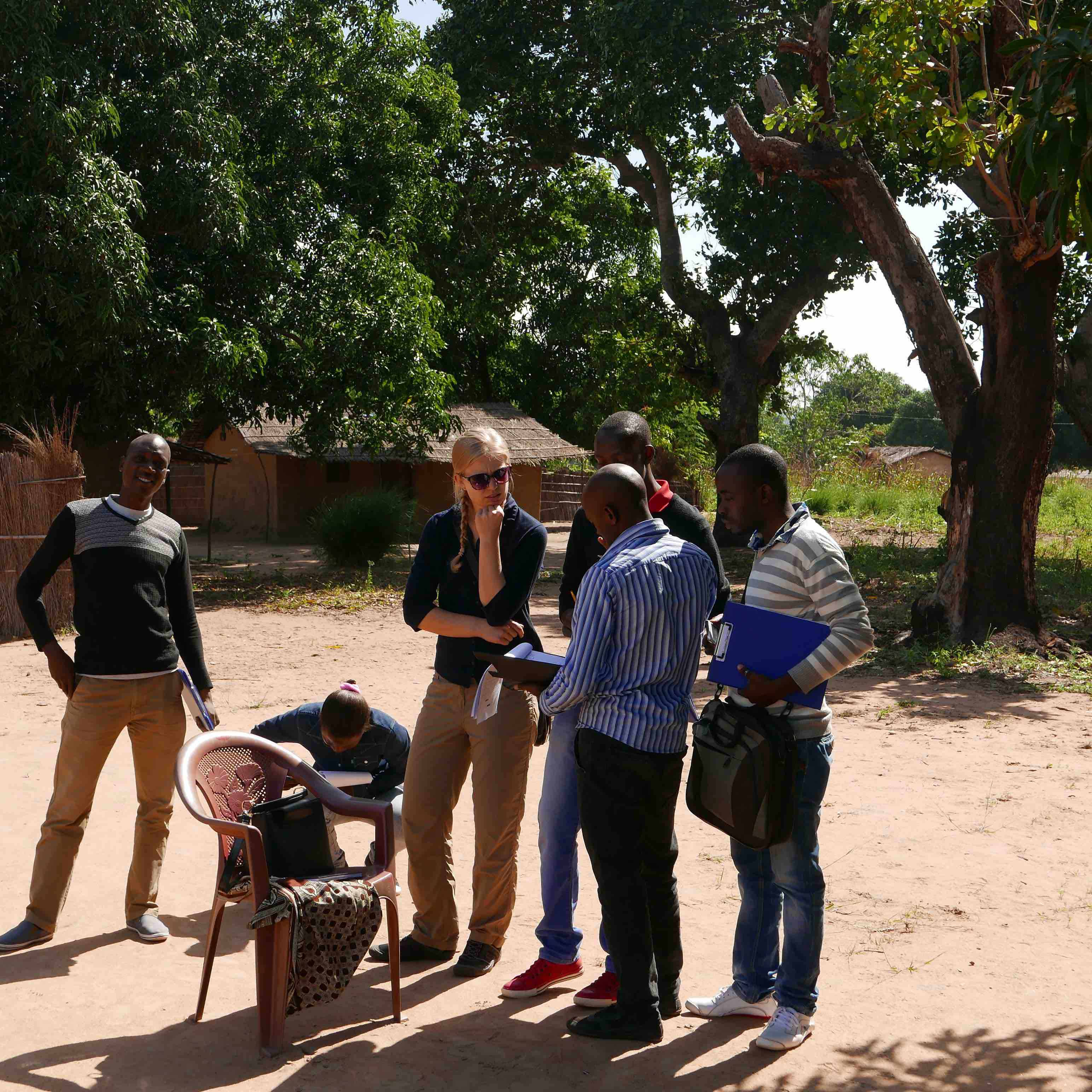 Recent CAES graduate Emily Urban listens to the Feed the Future Peanut Mycotoxin and Innovation Lab survey team that she worked with in Mozambique this summer.