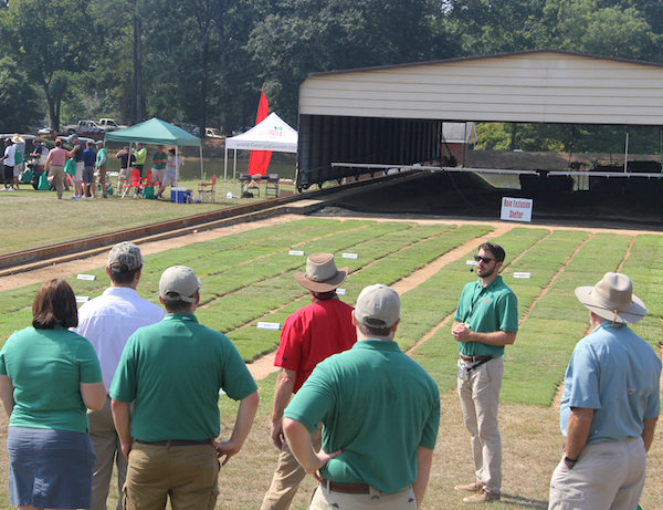 Newly named University of Georgia turfgrass researcher David Jespersen was among the UGA experts who presented their research findings at the Turfgrass Research Field Day on Thursday, Aug. 4. Jespersen is shown sharing the results of a UGA research project that evaluated the drought tolerance of four turfgrass species.