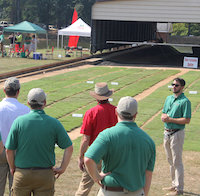 University of Georgia turfgrass physiologist David Jespersen will be among the UGA experts who share their research findings at the Turfgrass Research Field Day on Thursday, Aug. 9. Jespersen is shown at one of his field plots on the UGA campus in Griffin, Georgia.