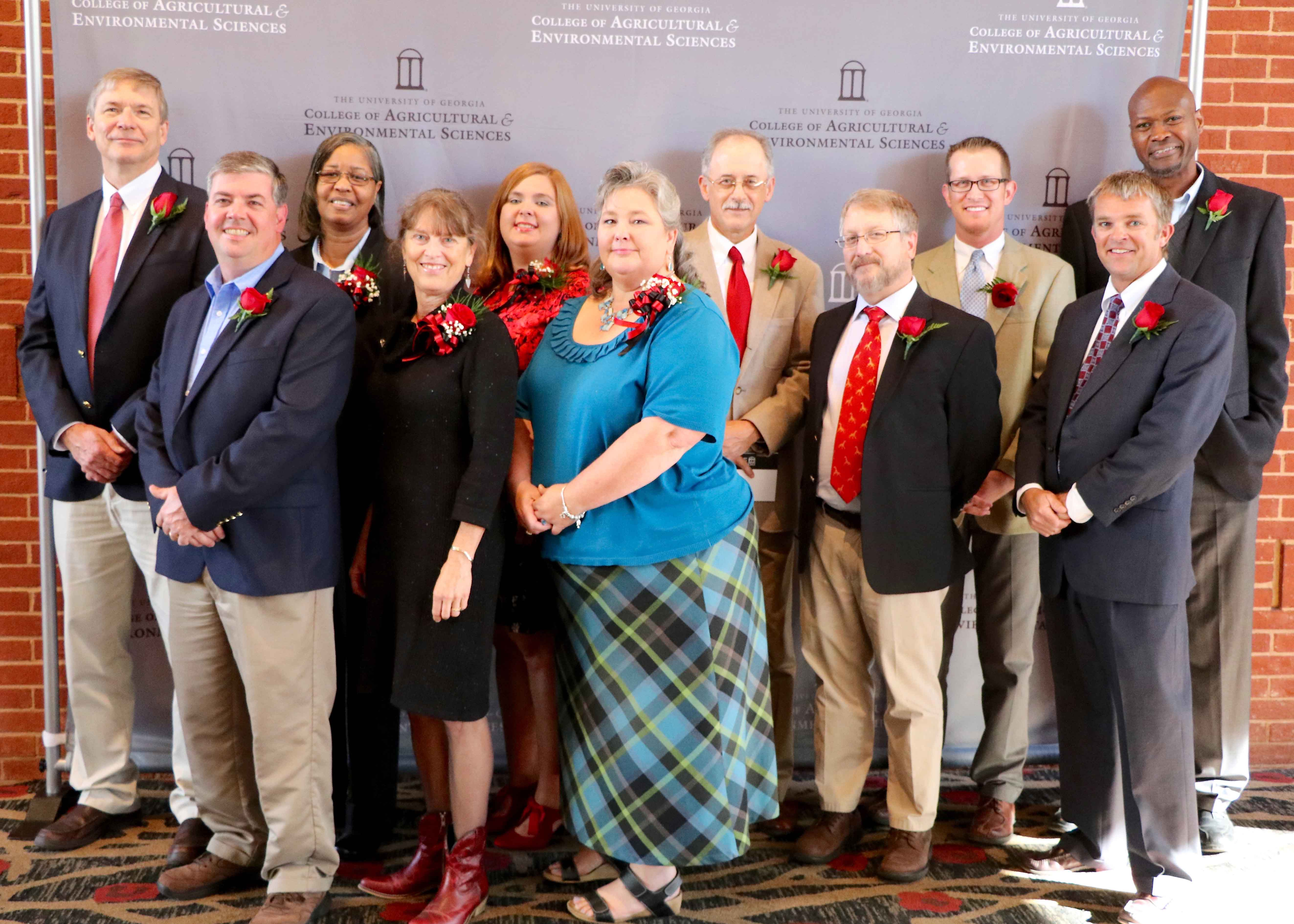 On Nov. 7, 2016 the University of Georgia College of Agriculture and Environmental Sciences honored faculty and staff at the D.W. Brooks Lecture and Awards Ceremony. Those honored included; from left front row; Brian Fairchild, Julia Gaskin, JoAnne Norris, Wayne Parrott, Bill Tyson; and from left back row; Peter LaFayette, Carla Barnett, Lindsey Barner, Tim Brenneman, Nick Fuhrman and Ron Walcott.