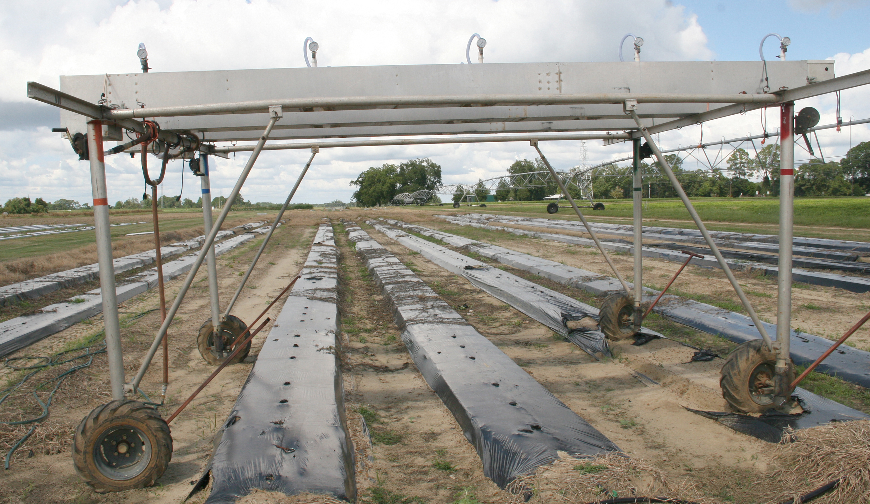 Pictured is a rain simulator used by UGA scientists on the UGA Tifton Campus.