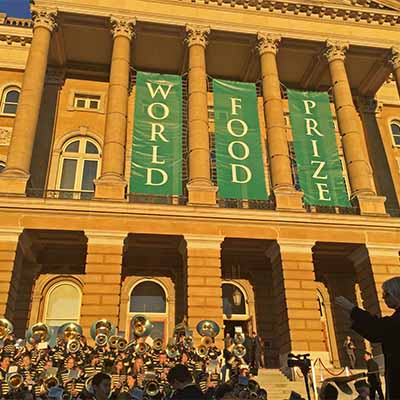 A high school band plays outside of the World Food Prize Hall of Laureates in Des Moines, Iowa, to mark the 2016 Borlaug Dialogues.