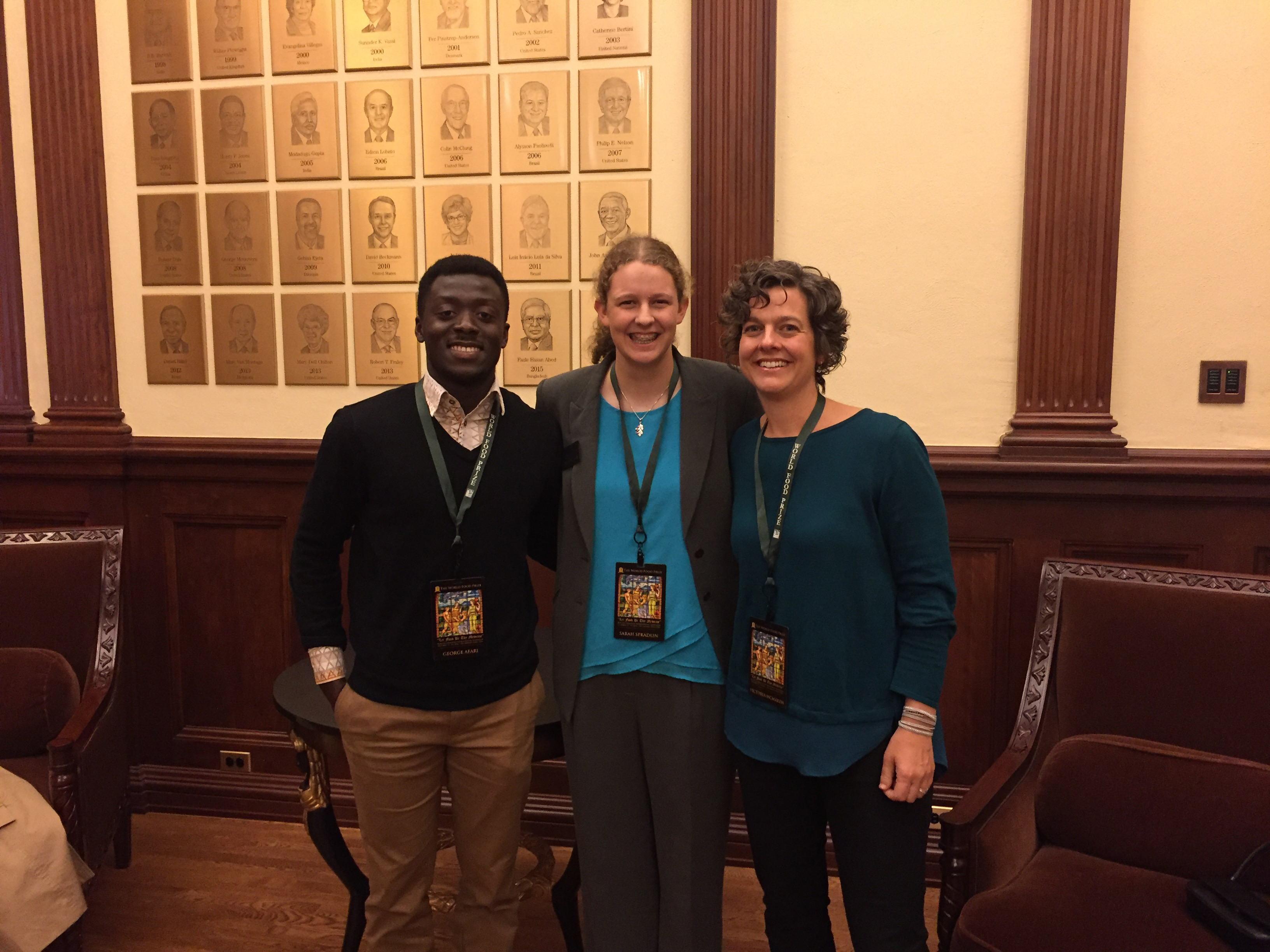 George Afari, a UGA Ph.D. student studying food science, and Sarah Spradlin, first-year student studying agricultural communication and international affairs, traveled with Vicki McMacken, assistant director for the UGA CAES Office of Global Programs, to Des Moines, Iowa for the World Food Prize's annual Borlaug Dialogues this October.