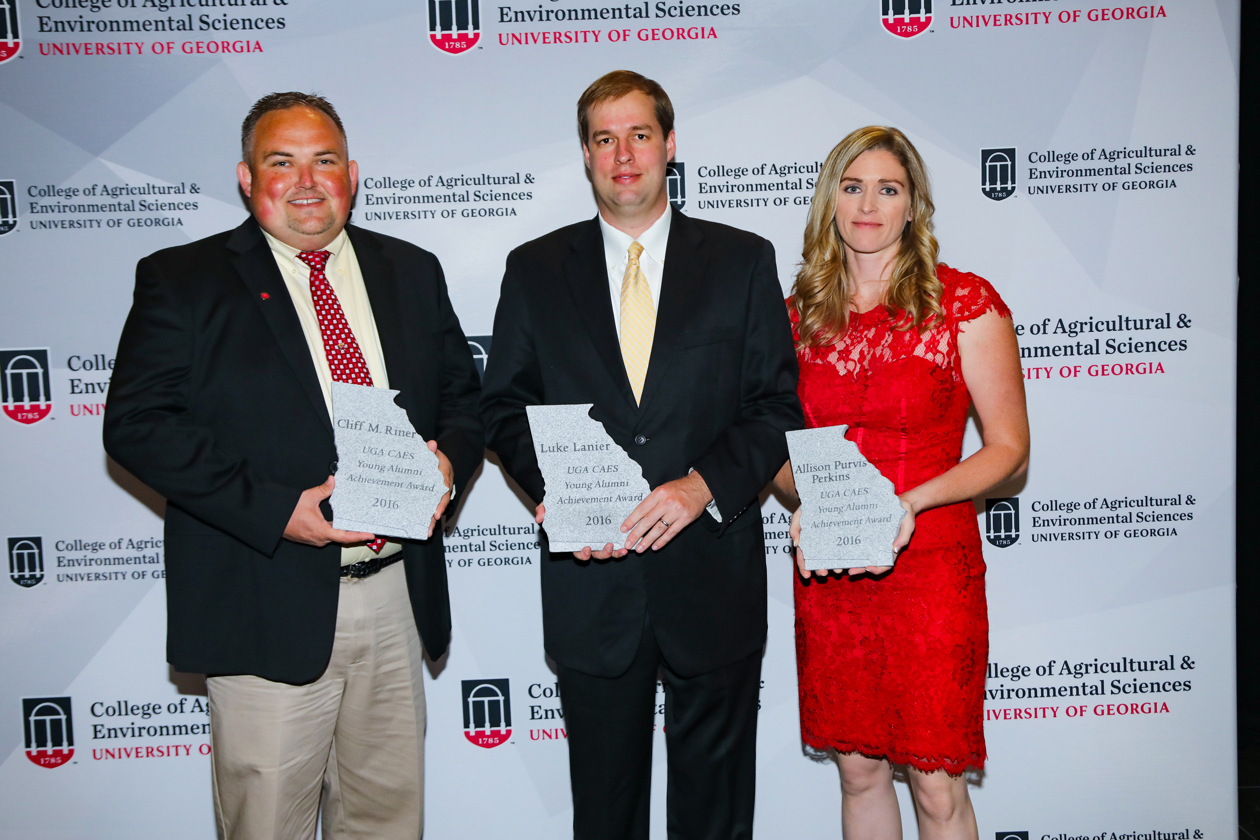 Cliff Riner, coordinator of the Vidalia Onion and Vegetable Research Center; Luke Lanier, assistant vice president of Metter Bank and Allison Perkins, UGA Cooperative Extension 4-H and youth development agent for Bartow County received CAES Young Alumni Achievement awards.