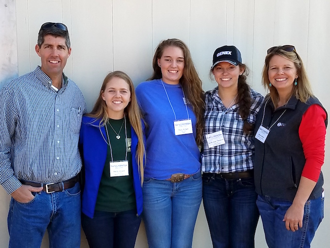 More than 80 students from 15 agricultural colleges across the Southeast visited Leatherbrook Holsteins in Americus, Georgia, as part of the annual Southern Regional Dairy Challenge held in Cordele, Georgia, Nov. 13-15. Hosted this year by the University of Georgia College of Agricultural and Environmental Sciences, the event is designed to prepare college students for careers in the dairy industry. Members of the UGA team are shown with the farm's owner, Adam Graft, and one of their instructors, UGA animal and dairy science Assistant Professor Jillian Fain Bohlen. Pictured left to right are Graft, Kayla Alward, Mary Wright, Sarah Jane Thomsen and Bohlen. Nathan Webb (not shown) was also on the UGA team.