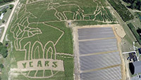 A view from above the corn maze at Rutland Farms in Tifton, Georgia.