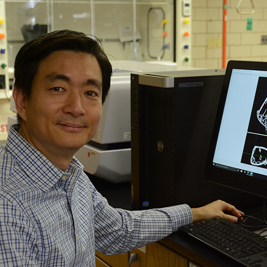 Woo Kyun Kim, assistant professor of poultry science, inspects images of poultry bones in his lab at the University of Georgia Athens Campus.